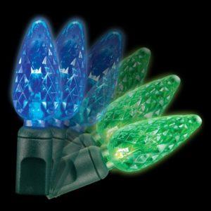 Blue to green C6 colorwave light string