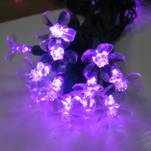 Purple flower-shaped LED light string