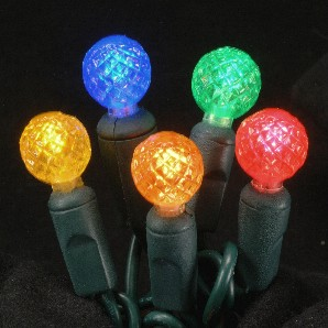 Multi-colored faceted G12 LED light string