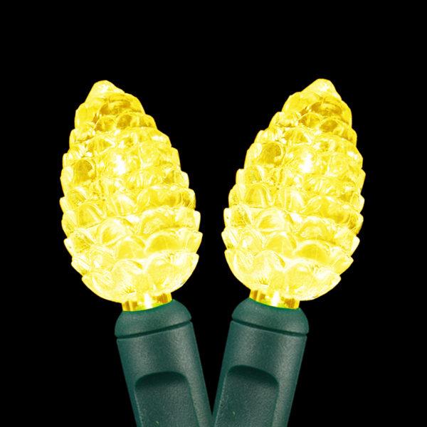 Gold pinecone-shaped LED string light