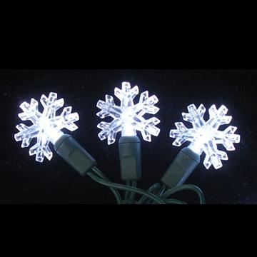 Pure white snowflake-shaped LED light string