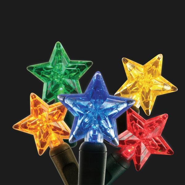 Multi-colored star-shaped LED light string