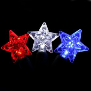 Red, white and blue star-shaped LED light string